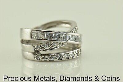 Sterling Silver 1 TCW Triple Accented Crossover Band Ring 925 Sz: 6.5
