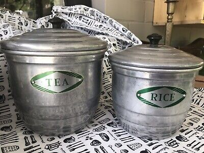 Vintage Aluminium Canister Set - Chef Kitchen Ware - 4 Pieces - Bakelite Knobs
