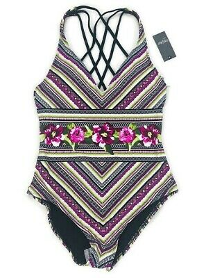 ae86515a7c784 Mossimo Womens One Piece Swimsuit Size Lg Multicolor Stripe Floral Strappy  Back