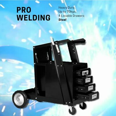 Heavy Duty Black Welding Cart Plasma Cutter Welder Drawers Mobile Storage 70 kg