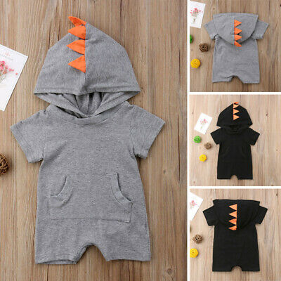 Newborn Kids Baby Boy Girl Dinosaur Romper Jumpsuit Hooded Clothes Outfits 0-24M