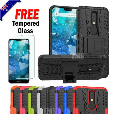 Tempered Glass Rugged Heavy Duty Bumper Case Cover For Nokia 2.1 3.1 6.1 7.1 8.1