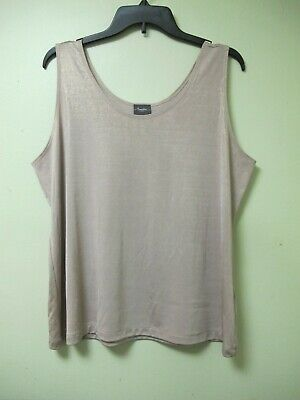 Chicos Travelers Shimmer Tank Top Beige Gold Wrinkle Free