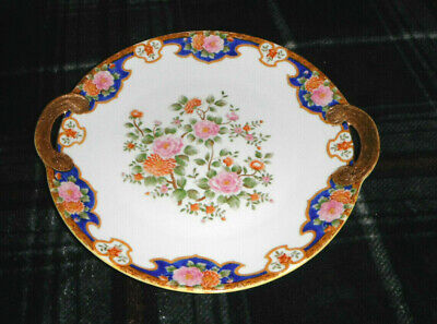 "Antique Nippon Porcelain H P. 10"" Cake Plate w/ 2 Gilded Handles Made In Japan"