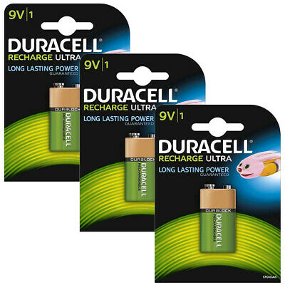 Duracell Rechargeable Ultra 9V Batteries NiMH 170mAh HR22 Duralock 3 Pack