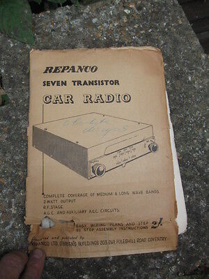Vintage Repanco Seven Transistor Car Radio Manual.build Plans,etc.