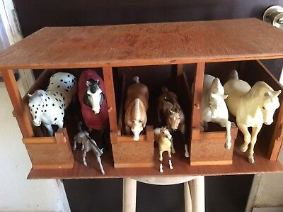 Vintage Wood Horse Stable With Bryer Horses
