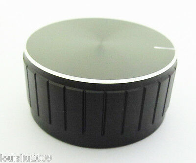 "50pcs Audio Knobs Aluminum Black High Quality with 6.25mm(1/4"") shaf 40x19mm"