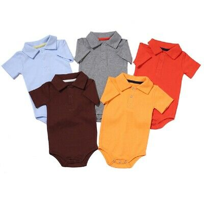 Baby Boys Girls Short-Sleeve Polo-Style Shirt 100% Cotton Bodysuits for Infant