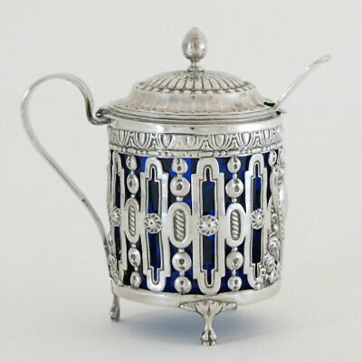 18C Antique French Sterling Silver Crystal Mustard Condiment Pot Jar Spoon RARE!