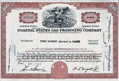 Coastal States Gas Producing Company, Delaware , 1969 (100 Shares)