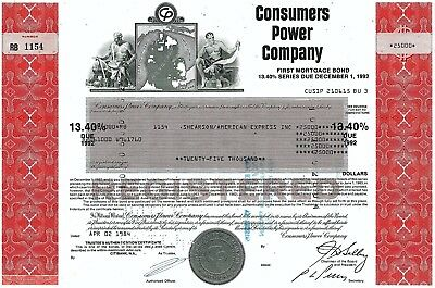 Consumers Power Company 1984, 13,4% First Mortgage Bond due 1992 (25.000 $)