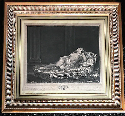 LARGE FRENCH XVIII th c neoclassical Louis XVI ENGRAVING NUDE gilded frame 18eme