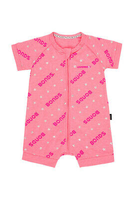 Bonds Baby Short Sleeve Zip Wondersuit Romper sizes 0000 000 0 1 2 Pink
