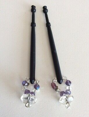 2 Spangled Ebony Wood Lace Bobbins/ Amethyst & Clear Crystal Beads