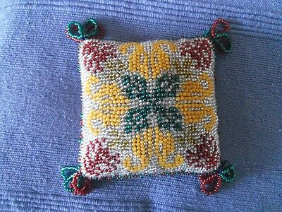 Large Antique  Victorian Beadwork Pin Cushion, Vintage Sewing, Old Bead Work.