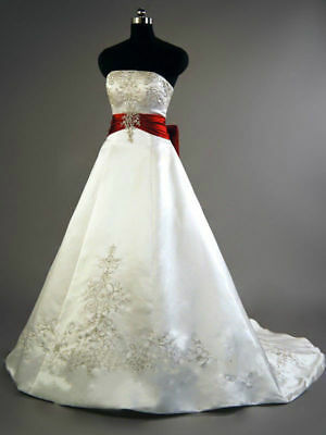 New White Red Wedding Dress Bridal Gown Plus Size Satin