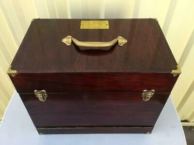 Great Vintage Wooden Cantilever Medicine / Science Storage Box Home / Office