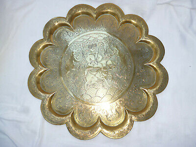VERY LARGE MIDDLE EASTERN MORROCAN BRASS TRAY or PLATTER - 41cm diameter