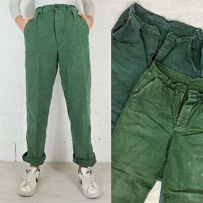Vintage Mens 60s Swedish Utility Workwear Chore Pants Trousers Green 28 29 30 31