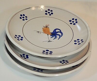 "3 Solimene Vietri Italy Hand Painted Rooster Chicken 9 1/2"" Dinner Plates EUC"