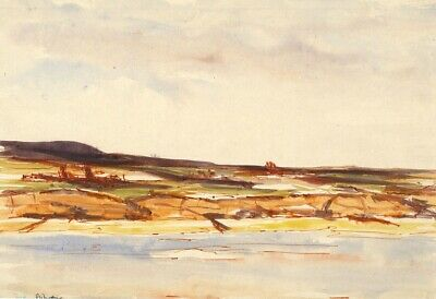 Robert Warren, Coastal View with Tree Stumps - Mid-20th-century watercolour