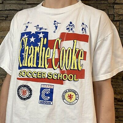 VTG adidas Trefoil Charlie Cooke Soccer School T Shirt 1990s Tee Mens Medium
