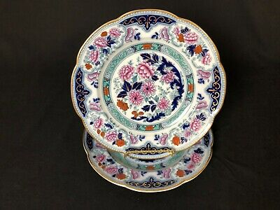 "Antique Lot of 2 Cauldon England 10&1/8"" Dinner Plates Blue Cobalt Flowers Pink"