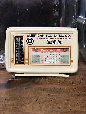 VINTAGE AMERICAN TELEPHONE & TELEGRAPH THERMOMETER / CALANDER Sign Southern Bell