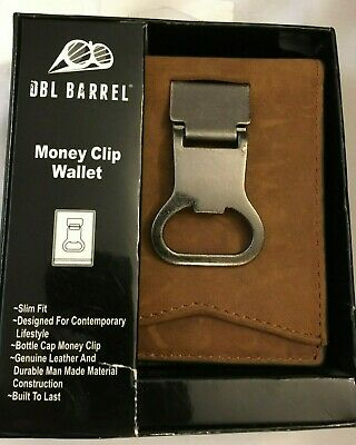 Double Barrel Western Mens Money Clip Bifold Leather Ostrich Coffee N5488602