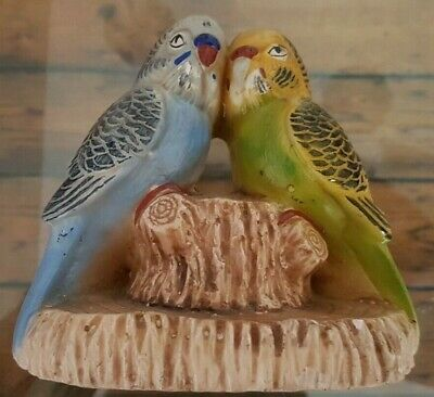 VINTAGE 1950s BUDGIE BUDGERIGAR ORNAMENT BLUE AND YELLOW BUDGIE