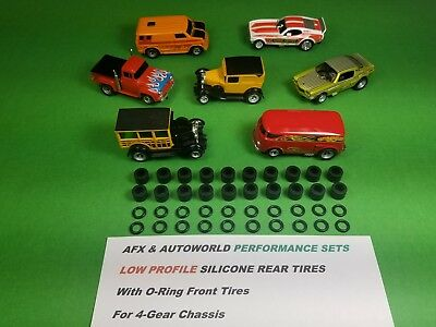 AFX AURORA AUTOWORLD 4-Gear SILICONE TIRES Lot of 10 full sets Slot Car