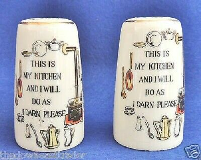 This Is My Kitchen & I Will Do As I Darn Please Salt & Pepper Shaker Set Vintage