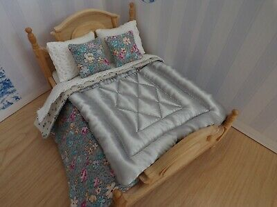 Miniature 1/12th scale dolls house BEDDING SET double bed Grey silky Eiderdown