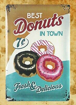US Seller- buy art posters Best Donuts in town fresh delicious tin metal sign