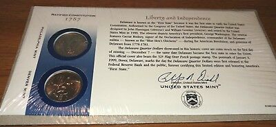 First Day Cover Us Mint Q10 Cello Sealed 1999 Delaware State Quarter Pd Set New