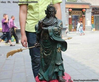 Chinese Folk Copper Bronze Dragon design Guan Gong warrior Hold Sword Statue
