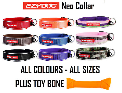 Ezydog Neo Dog Collar ALL SIZES ALL COLOURS Plus Knotted Bone Toy