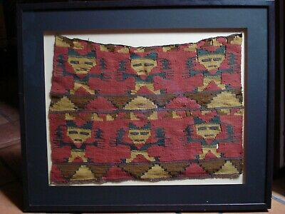 "Ancient RARE Pre-Columbian ROYAL TEXTILE 24""X17"" CHIMU PERUVIAN HUMAN FIGURES"