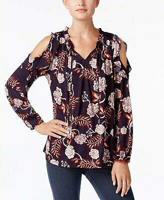 34f22d7649ff7 Style Co Printed Cold-Shoulder Peasant Floral Grape XXL