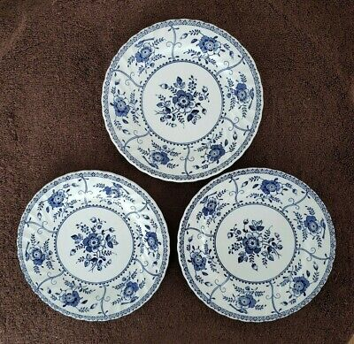 3 Vtg Johnson Brothers England INDIES Ironstone Salad Plates Blue and White