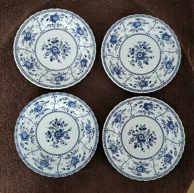 4 Vtg Johnson Brothers England INDIES Ironstone Salad Plates Blue and White