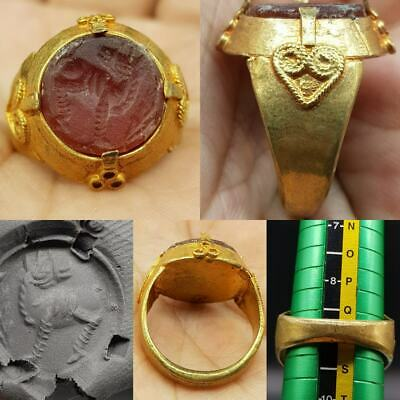 gold gilding Agate intaglio stone Animal Old Lovely Ring   #10R