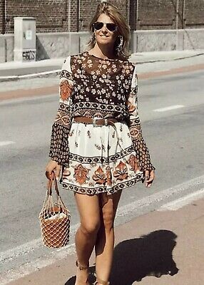 043f7990 ZARA Boho Floral Embroidered Patchwork Tunic Dress Flute Sleeves Size XL  BNWT🌼