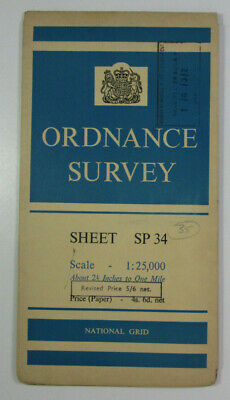 1959 Old Vintage OS Ordnance Survey 1:25000 First Series Map SP 34 Edge Hill