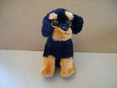 """TY Beanie Baby Brutus Plush Rottweiler Dog Black and Brown No Hang Tag 6"""""""