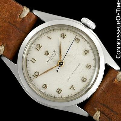 1951 ROLEX Mens Vintage Oyster SS Steel Watch, Rare & Classic - Orig. & Warranty