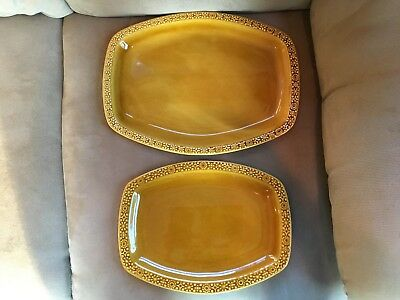 Connemara Celtic Irish Fine Earthenware Serving Dishes/Trays -Gold Vintage