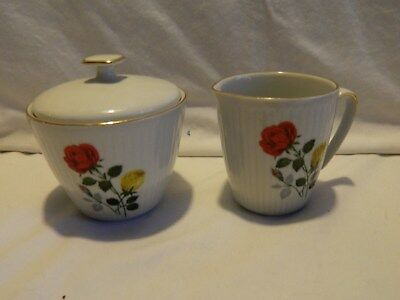 Vintage Bavarian Creidlitz Hand Painted Red & Yellow Rose Sugar And Creamer