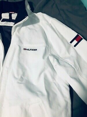 d5c360c0 MEN'S TOMMY HILFIGER YACHT YACHTING JACKET WINDBREAKER WATERSTOP WHITE Small